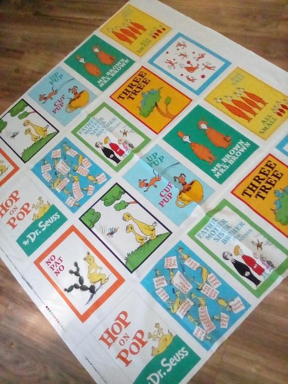 2 Cotton Dr. Seuss Fabric Panels, Dr. Seuss Storybook Double Panels, Children's Double Dr.Seuss Book Panels