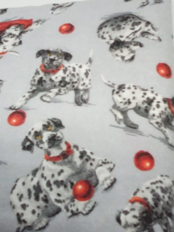 2 Yards Dalmatian Print Flannel, Novelty, Dogs Print for Dog Lovers, Flannel Dog Accessories Fabric