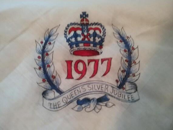 Vintage Queen Elizabeth II Commemorative Scarf, Silver Jubilee Scarf, Queen Elizabeth Silver Jubilee Scarf, Commemorative Jubilee Scarf