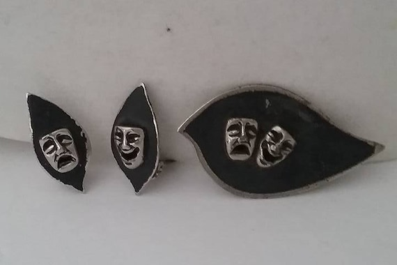 Comedy and Tragedy Muses Jewelry, Brooch and Earrings
