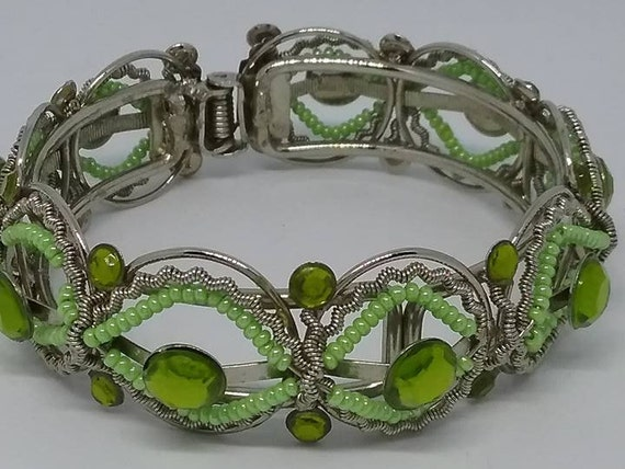 Green Beaded Cuff, Beaded Cuff, Vintage Beaded Cuff, Bead and Metal Cuff, Bead and Metal Hinged Bangle, Hinged Bangle, Hinged Bracelet