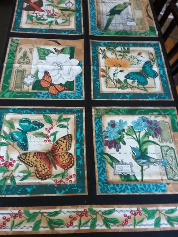 Butterfly and Bird Sewing Panel, Timeless Treasure by Sue Schlabach of Wild Apple