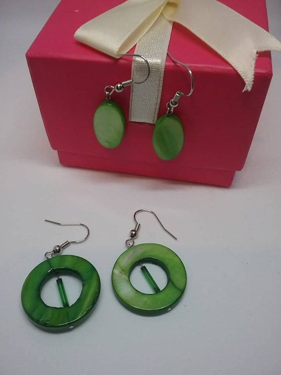 Green Mother of Pearl Earrings,