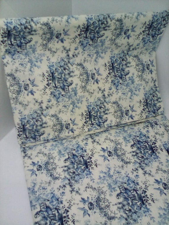 2 Yards Victorian Country Scene Toile, Blue and Cream Cotton Fabric, Vintage Style Material