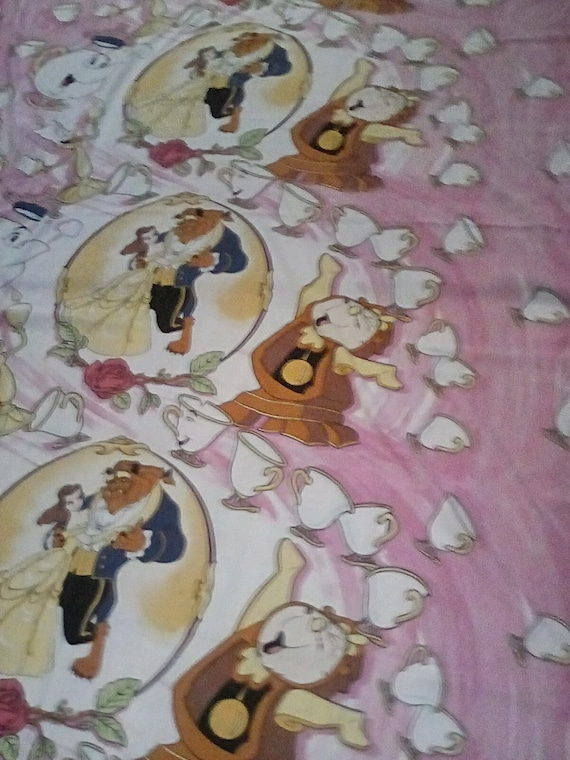 Vintage Disney Beauty and the Beast Twin Flat Bedsheet, Beauty and the Beast Child's Bed sheet