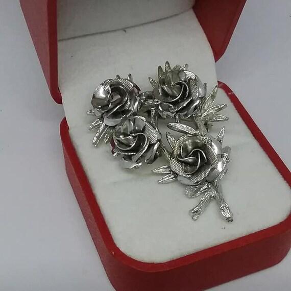 Vintage Coro Roses Brooch, Silver Tone, Hallmarked