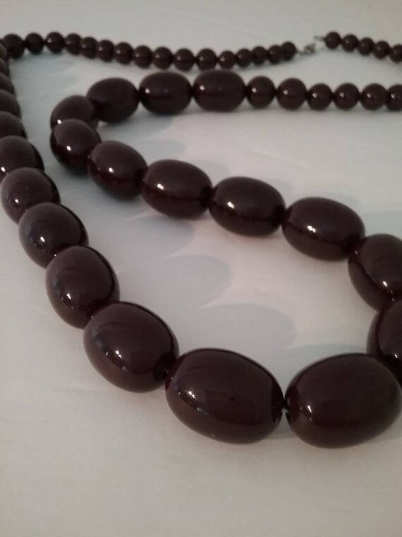 Vintage Long Brown Graduated Bead Necklace,