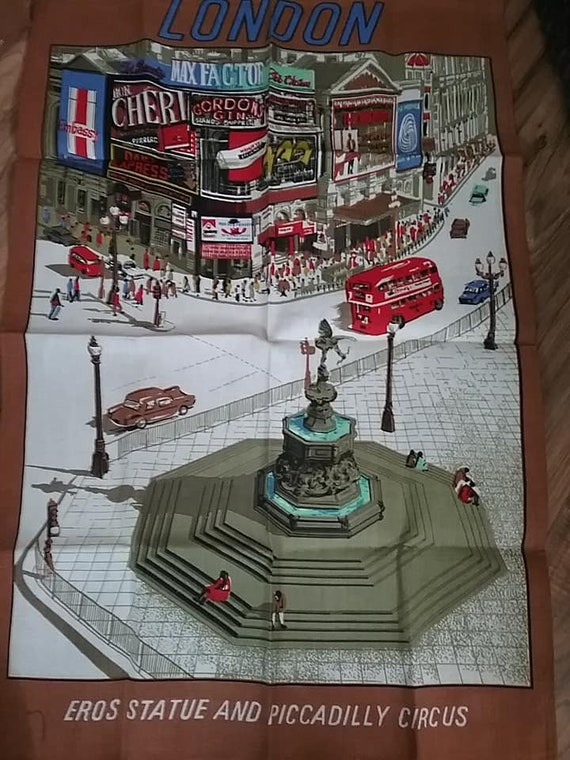 London Cotton Tea Towel, Fabric Wall Decor of London Piccadilly Circus