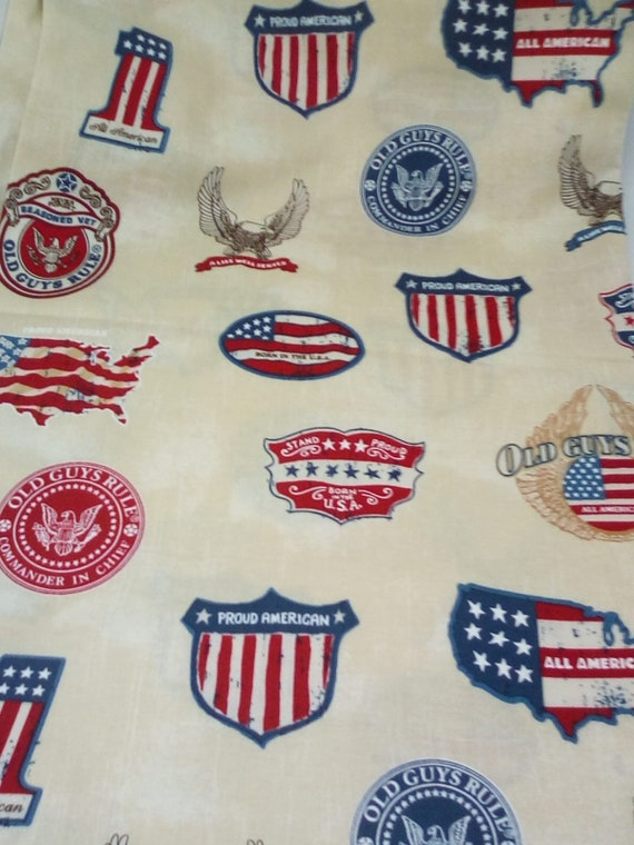 2 Yards Cotton Novelty Fabric, Old Guys Rule on Ivory Fabric, Patriotic Material by Robert Kaufman