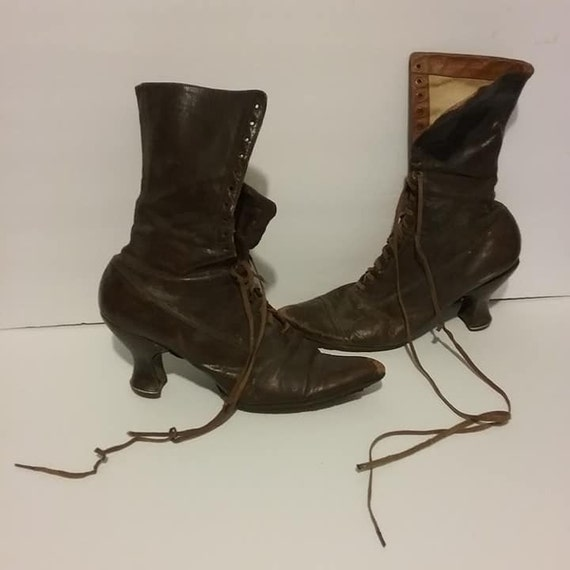 Edwardian Leather Lace Up Boots, Ladies Slender