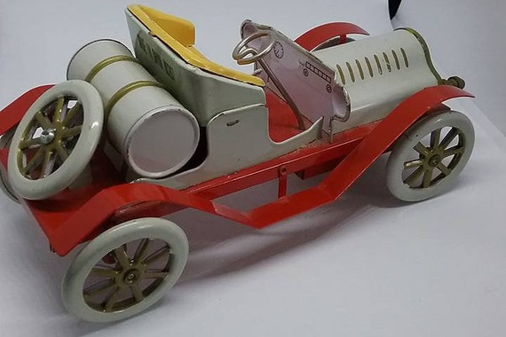 Vintage Wind-up Tin Car, Roadster