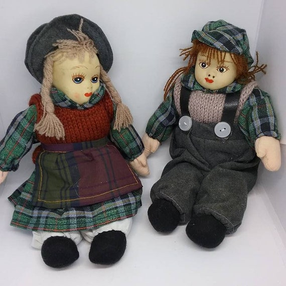 Vintage Bisque Faces Dolls, Boy and Girl