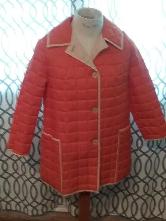 Woman's Mod Jacket, Mod Quilted Puff Jacket, Orange and White Mod Coat, White Bear of St. Paul
