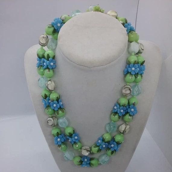 Vintage Blue and Green Lucite Necklace, Fruit Salad, Double Strand,