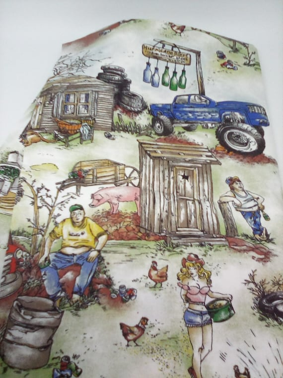 Retro Lifestyle Fabric, 1 Yard Cotton Material, Country Life Print Fabric