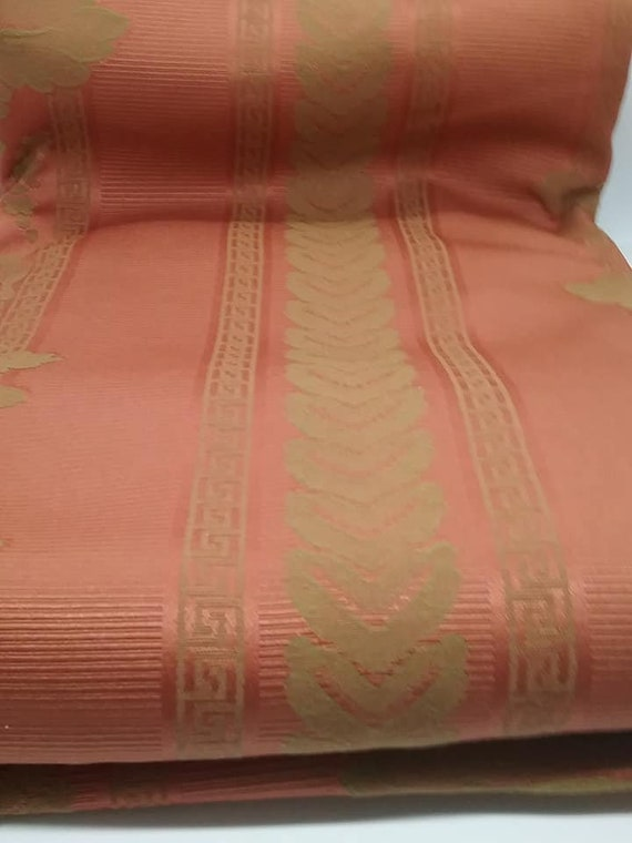 4 Yards Jacquard Material, Terra Cotta and Gold Fabric