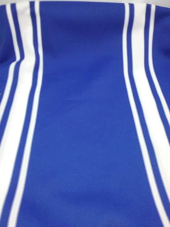 2 Yards Blue and White Knit Fabric, Polyester Knit Blue and White Material,
