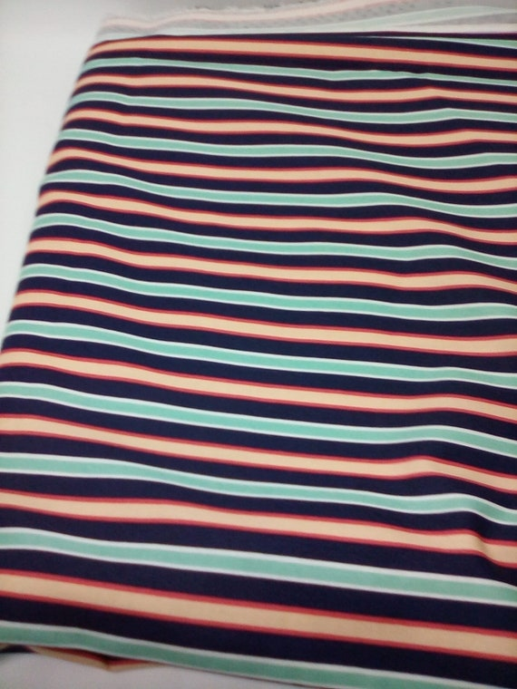 2 Yards Striped Fabric, Cotton Stripe Material, Blues and Peach Fabric