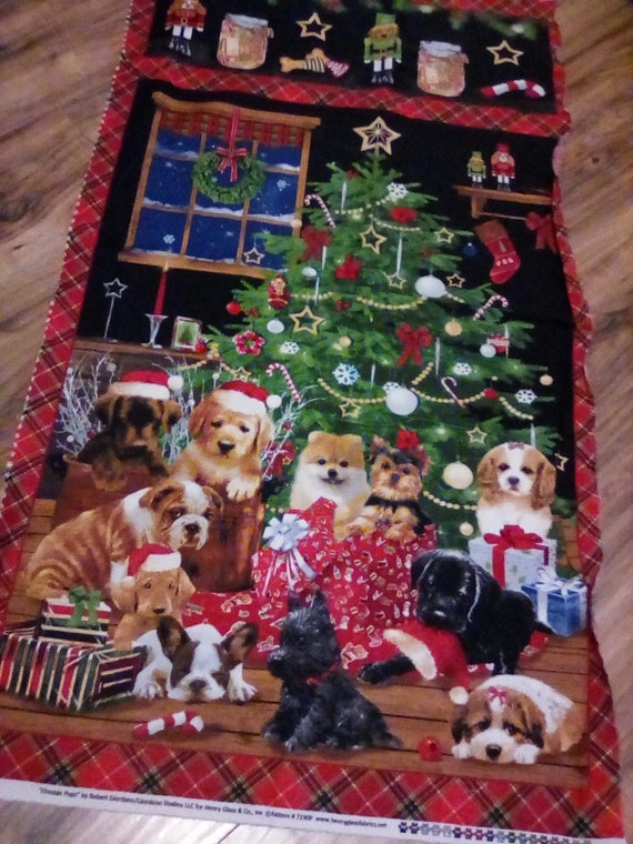 Christmas Dogs Quilting Fabric, Christmas Dogs Sewing Project, Christmas Fabric Panel