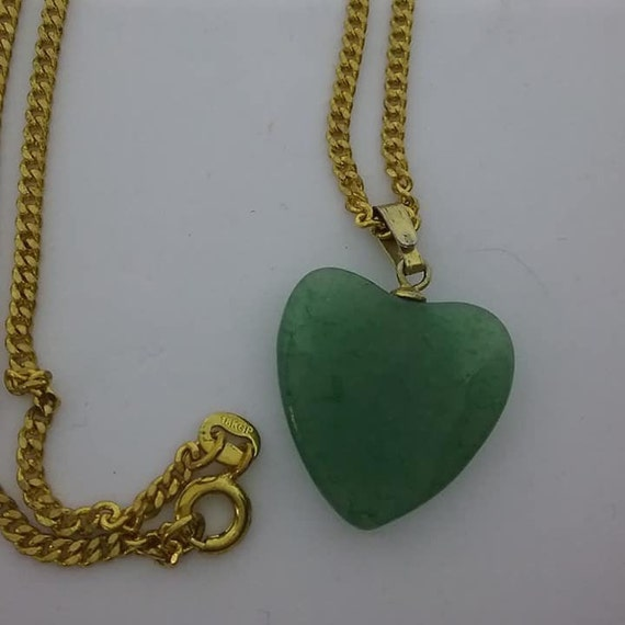 Vintage Jade Heart on 18KT Chain