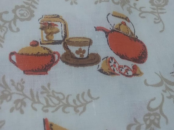 2+ Yards Mid-Century Mod Kitchen Material, Early Americana Kitchen Print Fabric