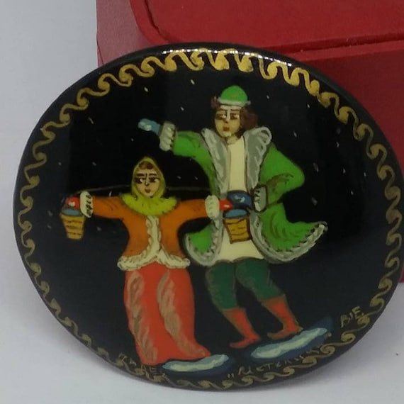 Vintage Russian Hand-painted Cameo, Palekh  Laquered and Signed