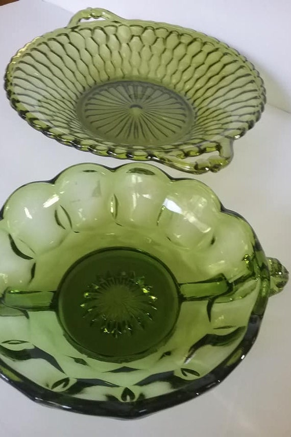 Vintage Carnival Green Glass Dishes, Indiana Glass