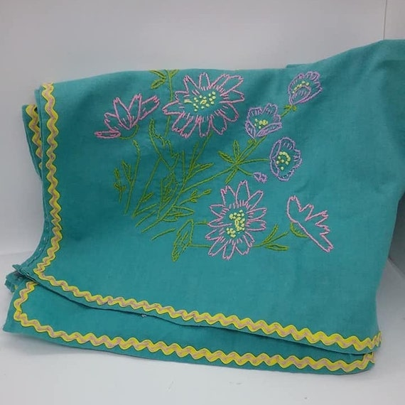 Hand Embroidered Turquoise Tablecloth, Square