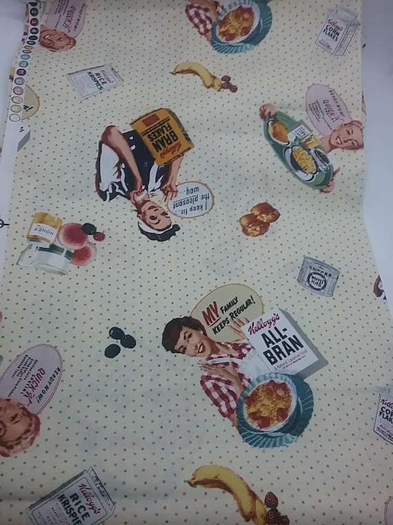 Novelty Material, Kellogg's Cereal Licensed Fabric, Retro Look Material