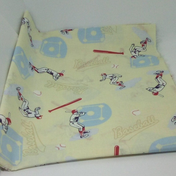1 yard Cotton Sports Fabric, Cotton Baseball Fabric, Baseball Theme Material
