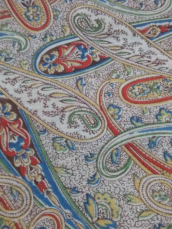 Cotton Paisley Material, 2 Yards Fabric,
