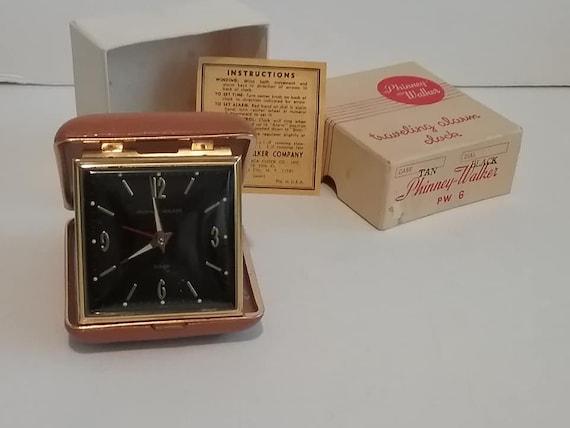 Vintage Phinney-Walker Mid Century Mod Travel Alarm Clock
