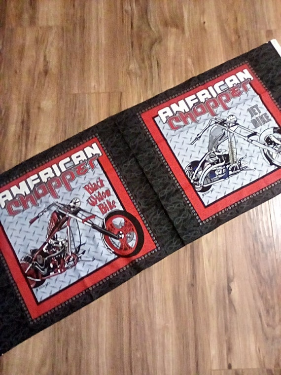 1 Yard American County Choppers Cotton Panels, American Choppers Pillowcase Panels, Black Widow Bike panel,  Jet Bike Panel