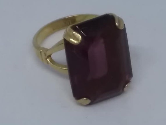 Vintage 1980's Statement Ring, Avon Amethyst