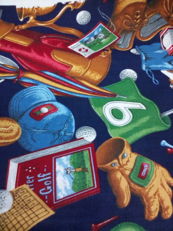 Golf Theme Fabric, VIP by Cranston, Cotton Golf Material, Novelty Sports Fabric