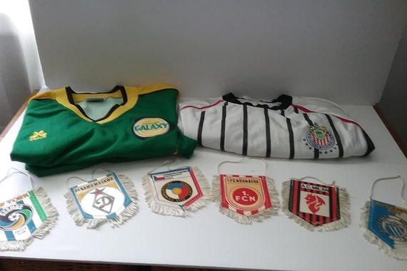 Vintage Soccer Collectibles Lot of Jerseys and Pennants