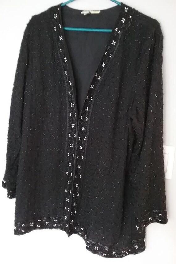 Vintage 80's Black Sequined Evening Jacket,
