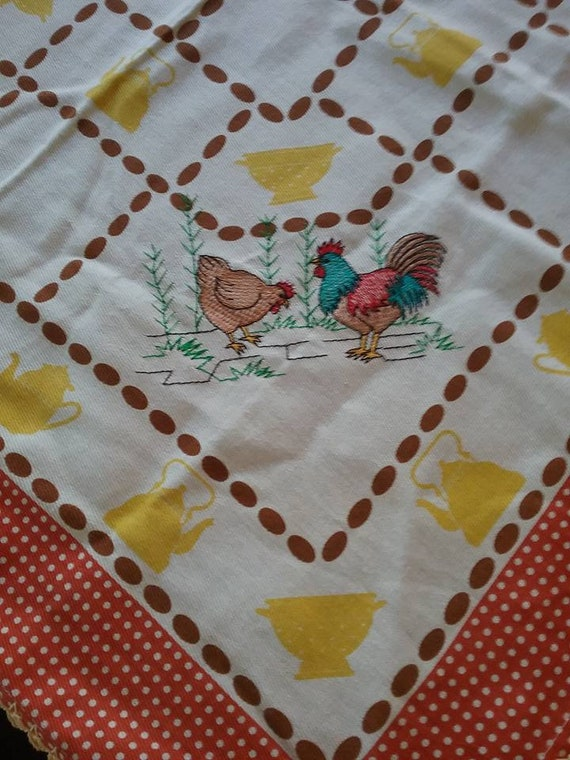 Vintage Square Table Cloth, Embroidered, Hen and Rooster