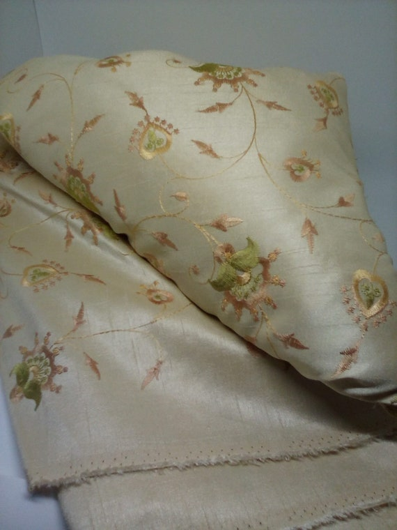 8 Yards Embroidered Fabric, Thick Faux Silk, Stain and Wrinkle Resist, Bedding or Curtains,  New Embroidered Fabric
