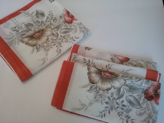 Four Vintage Floral Fabric Napkins, Terracotta