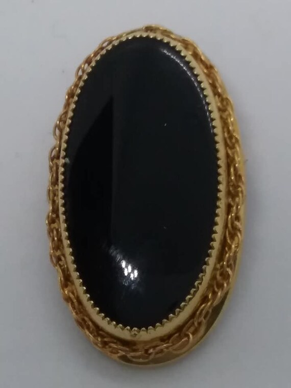 Black Onyx Brooch, 12 KT Gold Filled, Catamore Signed