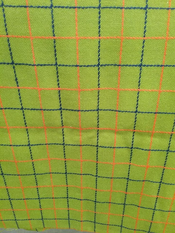 Green, Large Check Material, Over a Yard Fabric,