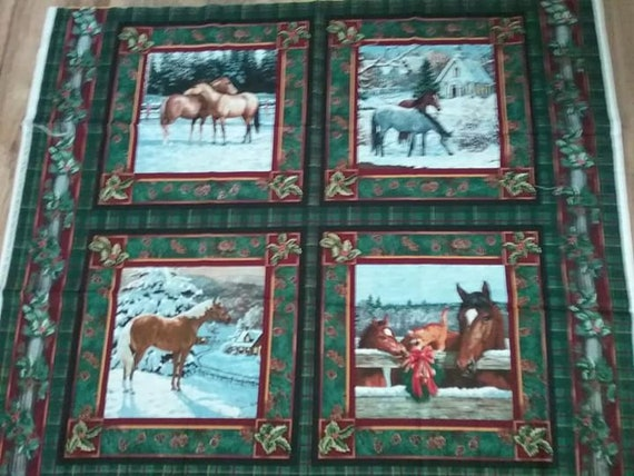 Fabric Pillow Panel, 4 Horse Scenes, Clayton Weirs, 100% Cotton