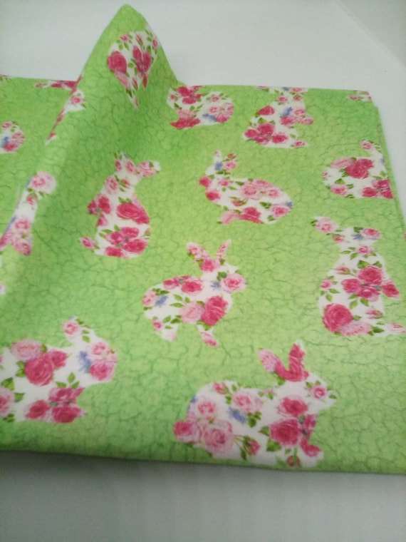 1 Meter Cotton Fabric, Bunny Love by Northcott, Rabbit Print Cotton Material, Roses Bunnies on Green