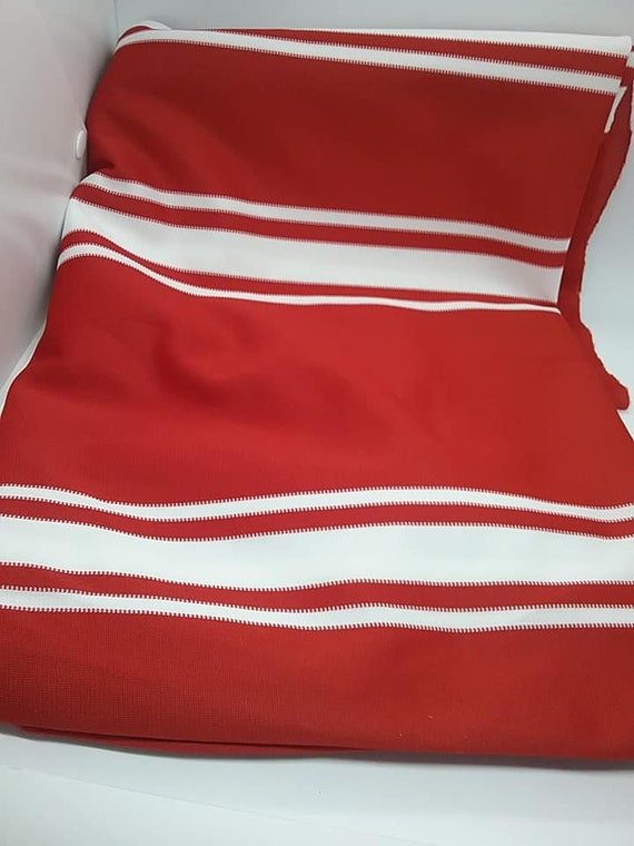 Red and White Stripe Polyester Knit Fabric, 2 Yards Jersey Style Material