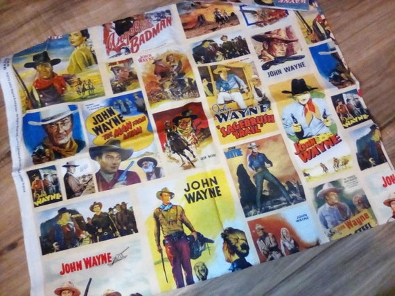 Cotton Novelty Fabric, 2 Yards John Wayne Licensed, Material, Retro Johnny Cash Movie Poster Material