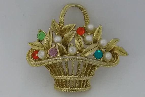 Vintage Flower Basket Brooch, Signed Gerrys