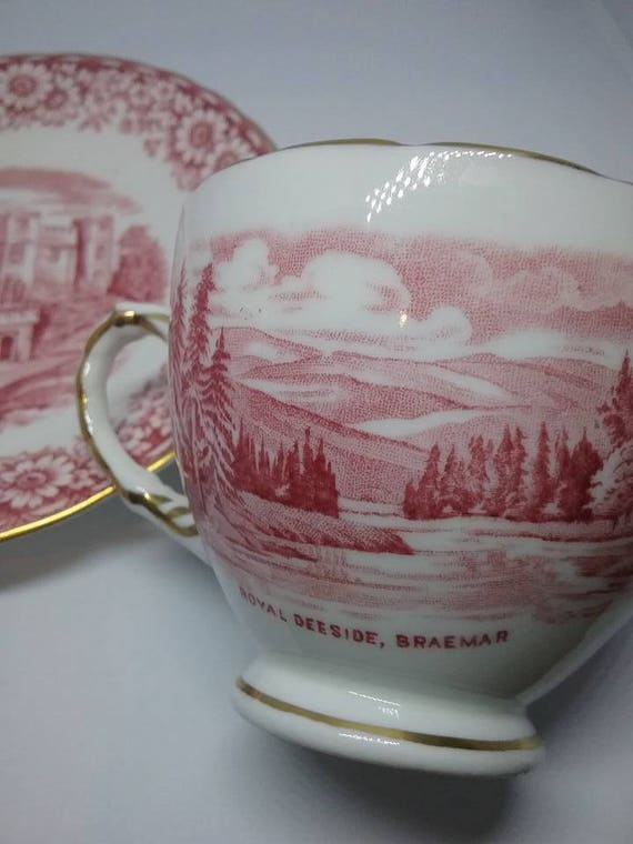Vintage H & M Sutherland Teacup and Saucer, historical Britain Scenes,
