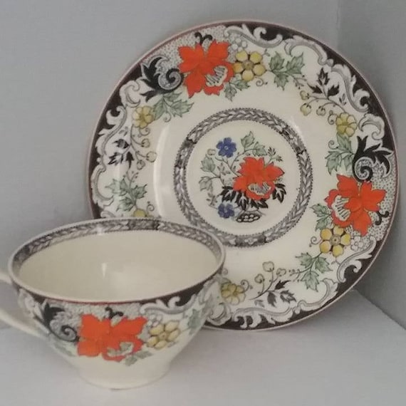 Vintage Norbury Hand Painted Cup and Saucer, Wood & Son Cup and Saucer, Vintage Norbury Demitasse Cup and Saucer, Rare pattern Tea set
