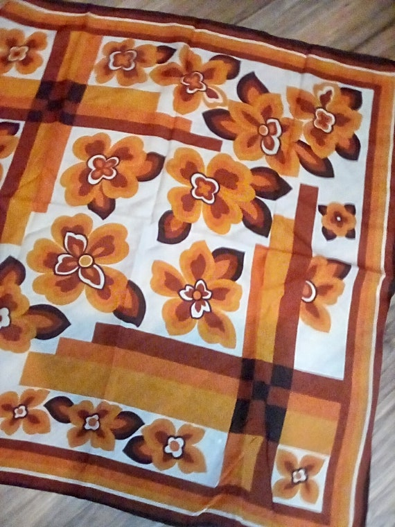 Vintage Mod Orange and Brown Floral Scarf, Mid Century Modern Floral Scarf, Mod Style Accessory